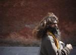 A Hindu holy man, or sadhu, walks toward Pashupatinath Temple a day before the Shivaratri festival in Kathmandu