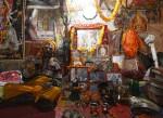 A Hindu holy man, or sadhu, rests at his ashram at the premises of Pashupatinath Temple in Kathmandu