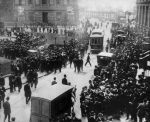 A huge crowd of people gathered near the offices of the shipping company White Star Line Broadway in New York to learn the latest news about the collapse of the liner TitanicApril 14, 1912. (Associated Press)