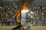 A police officer of Jammu and Kashmir perform risky stunts during the Republic Day celebrations in Jammu, India,