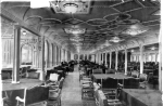 Dining room on the Titanic in 1912. The airliner was designed and built with the latest technology
