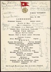 Lunch menu of the restaurant on board the Titanic, signed by the surviving passengers. Walter Lord bequeathed the document to the National Marine Museum in Greenwich, England. (National Maritime Museum London)