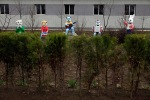 The figures of cartoon characters standing near the poultry farm «Dudan» in Pyongyang, North Korea, April 12, 2012. (Ng Han Guan  Associated Press)