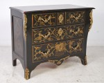 A BLACK PAINTED FRENCH STYLE COMMODE