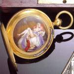 Anonymous, Swiss, circa 1860. Fine and rare 18 ct. gold and enamel hunting cased watch with a concealed enamelled erotic scene.
