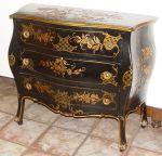 BLACK LACQUER CHINOISERIE PAINTED COMMODE CHEST