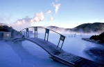 Hot springs in Iceland Blue Lagura - created by human hands ponds, which are heated by natural means by volcanic activity. Sources are especially beautiful snowy winter, when the water is still warm.