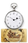 Lit D'Amour Swiss, No. 291. Made Circa 1820. Fine and rare, silver, quarter repeating pocket watch with concealed erotic automaton scene.