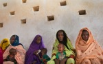 Mothers waiting for the doctors examine their children for symptoms of malnutrition in a clinic in the village Barrah, which is in the natural environment in the Sahel region of Chad, April 20, 2012.