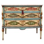 Neo-Classical Polychrome Three Drawer Marble Top Commode 19 cent