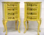 PAIR HAND PAINTED QUEEN ANN BOW FRONT COMMODES