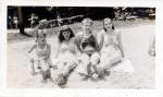 Arlene, Betty, Shirley and Doris Gosselin on the beach at Tyler Lake, Goshen, Connecticut - taken 1945
