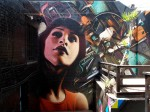 """Background by Kofie. Painted at Mid-City Arts for the Pasadena Museum of Contemporary Art's """"Street Cred"""" exhibition. Los Angeles, 2011"""