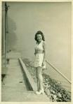 Bathing Beauty Poses at Shoreline 1940