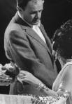 Dir. Joseph L. Mankiewicz speaking w. actress Elizabeth Taylor on set of film Cleopatra.