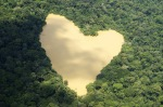 Lake in the heart shape in the jungles of the Amazon, Brazil.