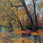 V. Busygin. The rain in the autumn park