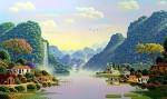Pueblo de lagos y montanas
