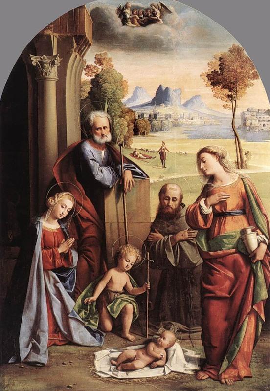 Giovanni Battista Ortolano        Nativity With Saints,1520
