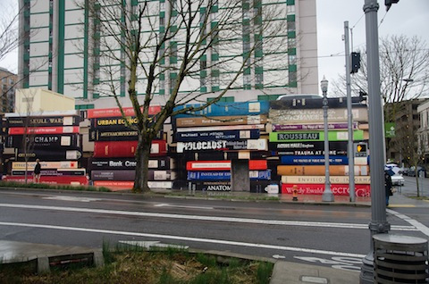 An eclectic book mural in Portland, Oregon.