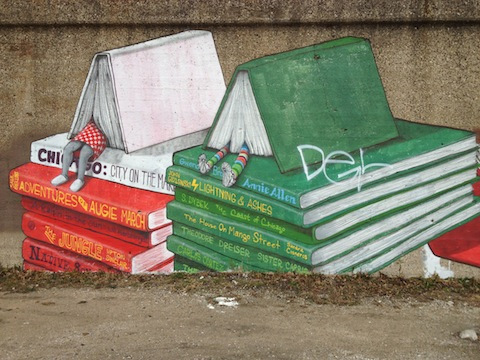 Bookish street art in Pilsen, Chicago.
