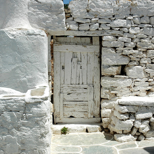 Old white door, Folegandros  Greece (by DIDS')