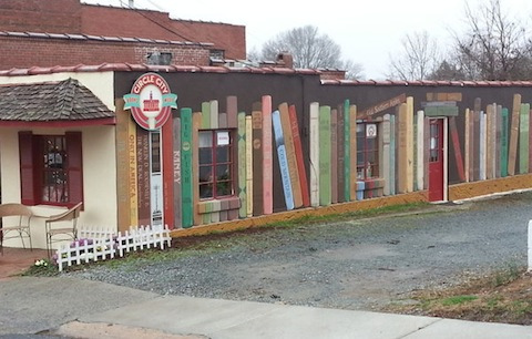 The book mural at Circle City Books and Music in Pittsboro,