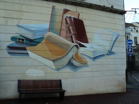 The charming side of a library in a small town outside Fontainebleau, France.