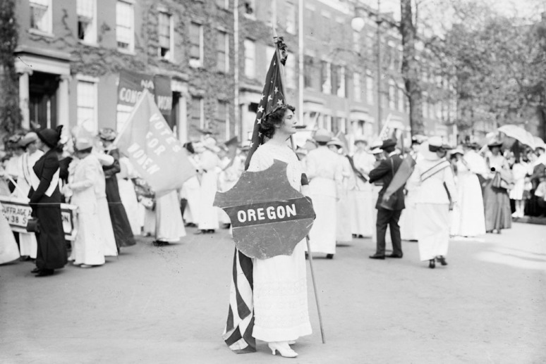 Actress Margaret Vail Howe takes part in a parade in Washington in March 1913.