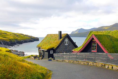 Grass Roofed Homes, Leynar, Faroe, Islands