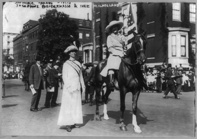 Josephine Beyderhass and Inez Mihollend Boyshevayn parade of suffragists.