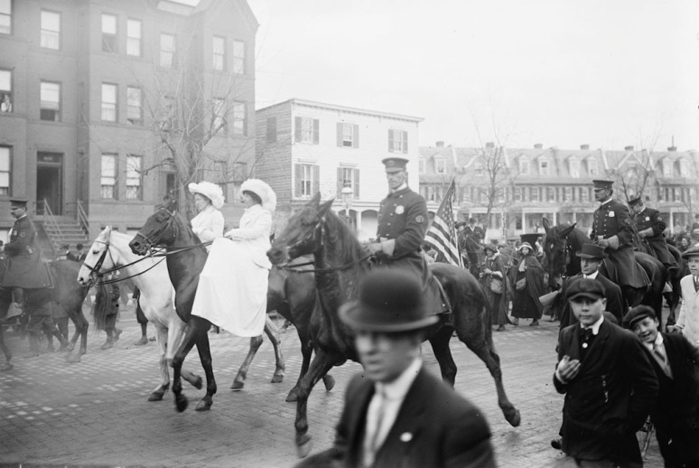 Parade participants arrive in Washington, DC, 1913.