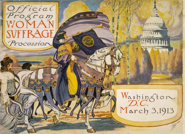 Promotional poster parade for women's suffrage.
